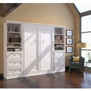 Versatile by Bestar 109'' Full Wall Bed Kit with Two 25'' Storage & 6 Drawers, White