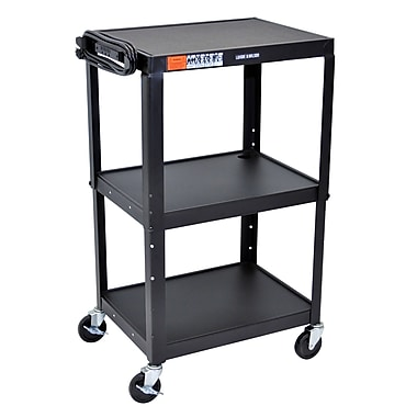 Luxor Steel Adjustable Height AV Cart, 3 Shelves, 25