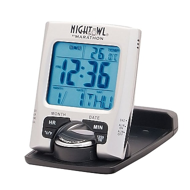 Marathon Travel Alarm Clock with Calendar and Temperature