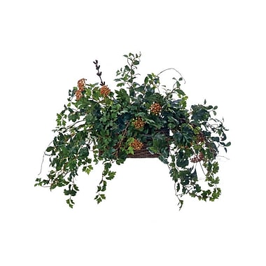 Distinctive Designs Topper w/ Silk Ivy, Berries and Vines in Stained Wicker Bread Basket