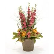 Distinctive Designs Hydrangeas, Delphiniums and Ranunculas in Orchid Pot