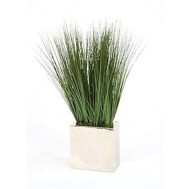 Distinctive Designs Silk Grass in Rectangular Metal Decorative Vase