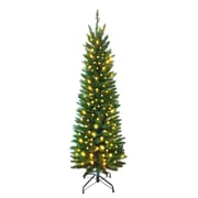 Hometime Snowtime 7' Green Pre-Lit Pencil Pine Artificial Christmas Tree w/ 300 Clear Lights