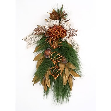 Distinctive Designs Merry Christmas Pine Swag and Burlap Ribbon w/ Amber Elements