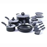 Basic Essentials 17 Piece Non-Stick Kitchen Starter Cookware Set; Red