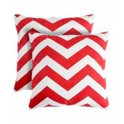 Pegasus Home Fashions Rockford Zig Zag Throw Pillow (Set of 2); Red
