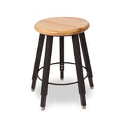 WB Manufacturing Adjustable Height Round Hardwood Seat 5 Leg Stool; 18 - 28''