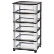 IRIS® 5 Drawer Wide Plastic Storage Drawer Cart, Black (124202)