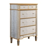 Elegant Lighting Florentine 5 Drawer Chest; Gold & Antique Mirror