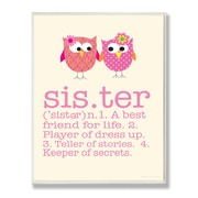 Stupell Industries The Kids Room Owl Sister Typography  Wall Plaque