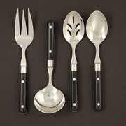 Ginkgo LePrix 4 Piece Flatware Set; Black