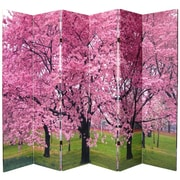Oriental Furniture 70.88'' x 94.5'' Double Sided Cherry Blossom 6 Panel Room Divider