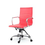 Winport Industries Mid-Back Leather Swivel Conference Chair; Red