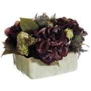 Silk Flower Depot Hydrangea/Artichoke/Thistle in Ceramic Pot