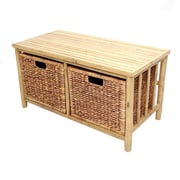 Heather Ann Bamboo Storage Entryway Bench; Natural/Brown