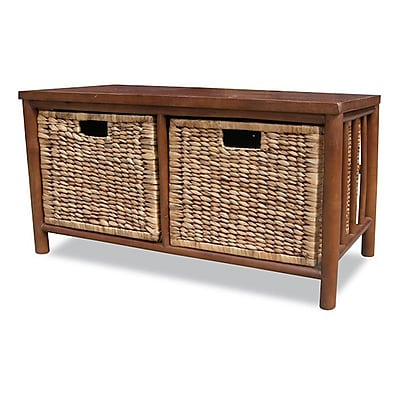 Heather Ann Bamboo Storage Entryway Bench; Brown