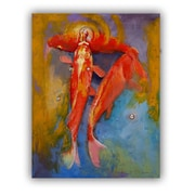 ArtWall ArtApeelz Koi Bubbles by Michael Creese Painting Print on Canvas; 48'' H x 32'' W x 0.1'' D