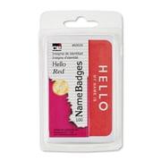 Charles Leonard® Self-Adhesive Name Tags, Hello, Red 100/pkg, 5.25 x 3 (CHL935335)