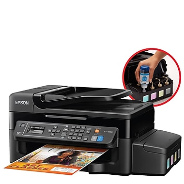 Epson WorkForce ET-4500 EcoTank Wireless All-in-One Inkjet Printer with Scanner, Copier and Fax