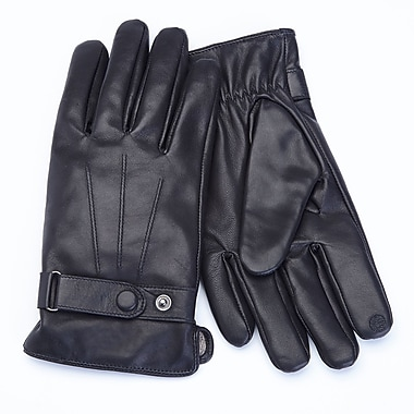 Royce Leather Men's Lambskin Touchscreen Glove , Black, Medium, Silver Foil Stamping, 3 Initials