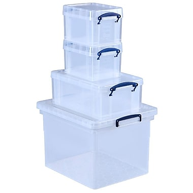 Really Useful Box 4 Box Bonus Set, 31L, 9L, 3L, 3L, Clear