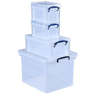 Boîtes Really Useful Box, ensemble en prime de 4 boîtes, 31 l, 9 l, 3 l, 3 l, incolore