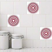 Odhams Press Retile Sunflower Wall Decal (Set of 10); Red on White