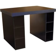 Venture Horizon Project Center Writing Desk with 6 Bin Cabinets; Black