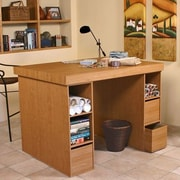 Venture Horizon Project Center Writing Desk with 6 Bin Cabinets; Oak