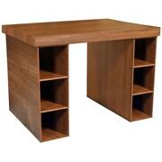 Venture Horizon Project Center Writing Desk with 6 Bin Cabinets; Dark Walnut