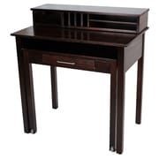 Casual Home Roll Out Desk with Hutch; Espresso