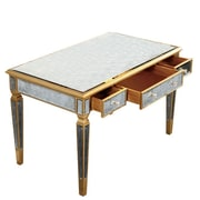 Elegant Lighting Florentine Writing Desk with Drawers; Gold & Antique Mirror