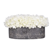 House of Silk Flowers Hydrangea in Oval Ceramic Pot; White