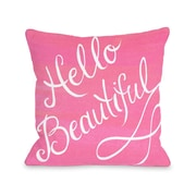 One Bella Casa Hello Beautiful Bow Polyester Throw Pillow; 16'' x 16''