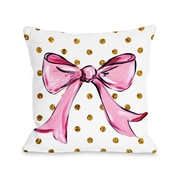 One Bella Casa Pink Bow Dots Bows Polyester Throw Pillow; 16'' x 16''