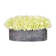 House of Silk Flowers Hydrangea in Oval Ceramic Pot; Green