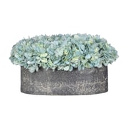 House of Silk Flowers Hydrangea in Oval Ceramic Pot; Teal