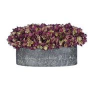 House of Silk Flowers Hydrangea in Oval Ceramic Pot; Plum / Sage