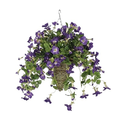 House of Silk Flowers Artificial Petunia Hanging Plant in Cone Basket; Purple WYF078277870383