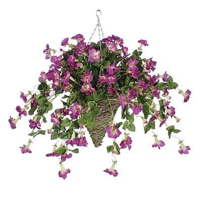 House of Silk Flowers Artificial Petunia Hanging Plant in Cone Basket; Orchid Pink WYF078277870385