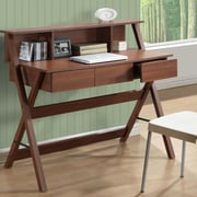 CorLiving Folio Writing Desk with Low Profile Hutch; Warm Oak