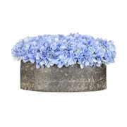 House of Silk Flowers Hydrangea in Oval Ceramic Pot; Blue
