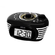 Akai Retro Black Alarm Clock Radio (ce1100b)