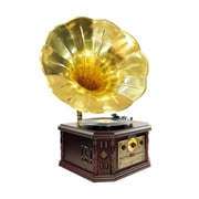 Pyle  Vintage Phonograph Horn Turntable with AM/FM Radio/CD/Cassette Player (pvnp4cd)