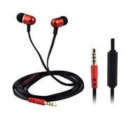 QFX  H-302M Universal Handsfree Earphones with In-Line Microphone, Red