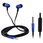 QFX  H-302M Universal Handsfree Earphones with In-Line Microphone, Blue