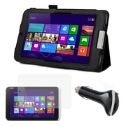 Mgear Folio Case, Screen Protector & Car Charger for Acer Iconia W3 Black/Clear