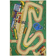 Rugnur Bambino Kids Fun Time City Race Track Cars Green Area Rug; 3'3'' x 5'