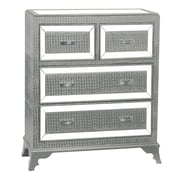 Powell Glamour 4 Drawer Chest; Silver