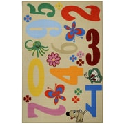 Rugnur Bambino Kids Fun Time Educational Numbers and Animals Ivory Area Rug; 4'3'' x 6'1''